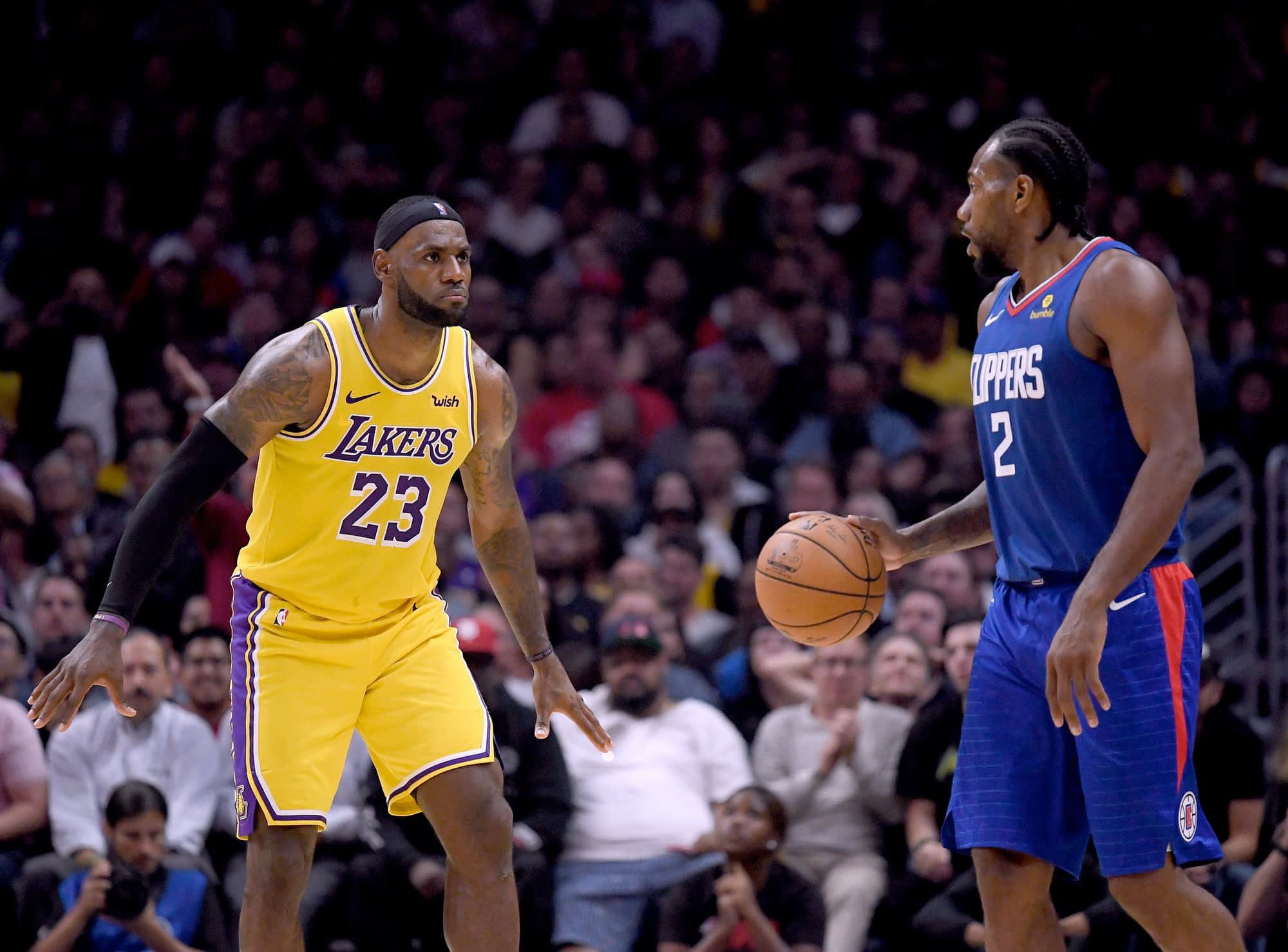 Kawhi Leonard faces off against LeBron James